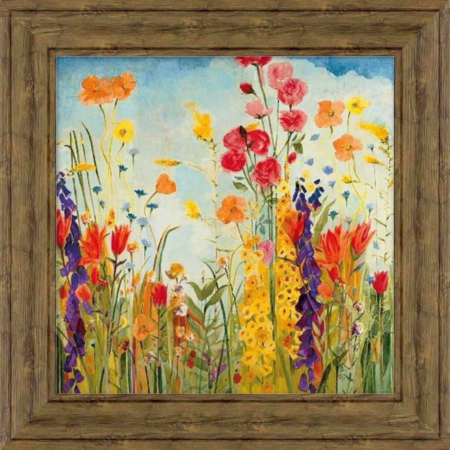 34-in W x 34-in H Framed Plastic Floral Print Wall Art | Decor ...