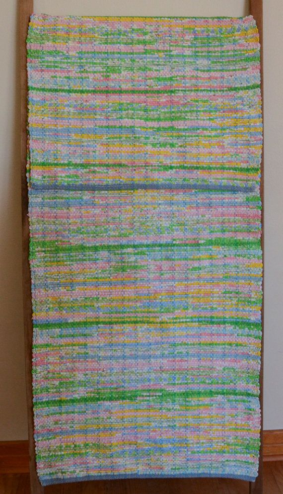 Hand Woven Rag Rug  Blue Pink Green Yellow by StudioatRedTopRanch