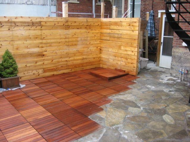 mileve reno patio en dalle de ip avant d poser sur poussi re de pierre et avec plancher de. Black Bedroom Furniture Sets. Home Design Ideas