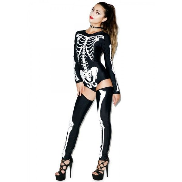 d2d6cac51d74 Sexy Skeleton Costume Black and White ( 28) ❤ liked on Polyvore featuring  costumes