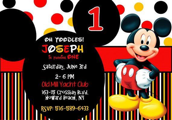 Mickey Mouse 1st Birthday Invitation Invitaciones De