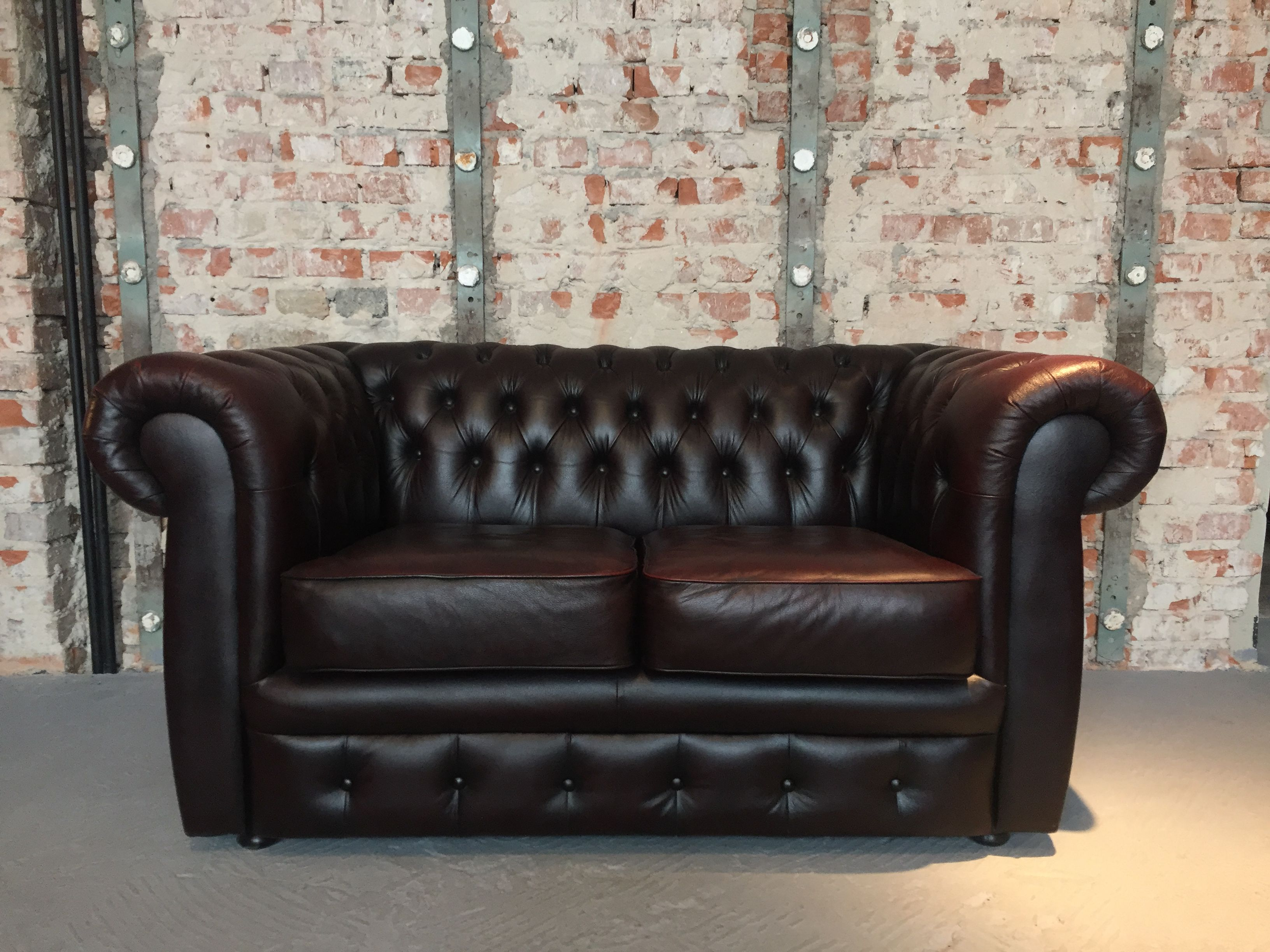 Original Chesterfield Sofa Brown Quilted Leather 2 Pers Vintage Style