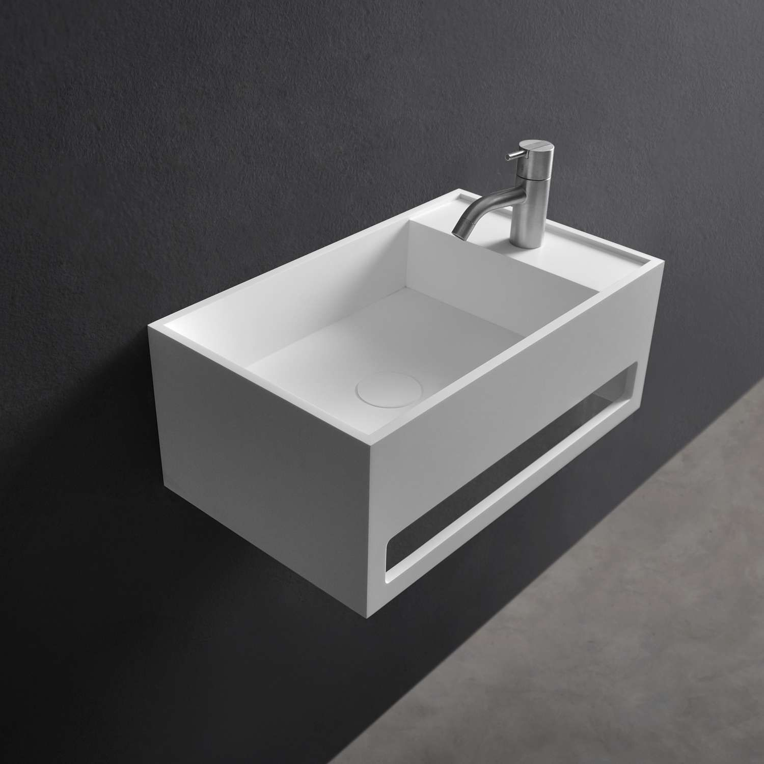 Cube Wall Hung Sink With Towel Bar Sternberger Finishes