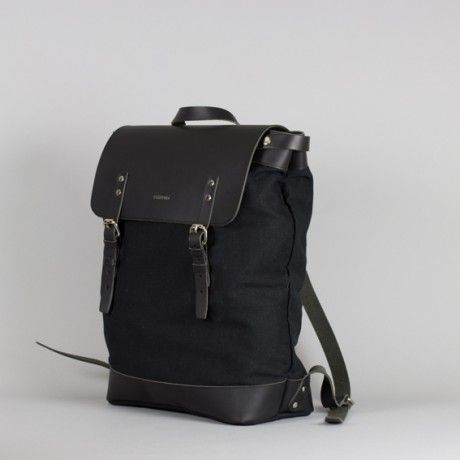 sandqvist hege leather and canvas backpack in black