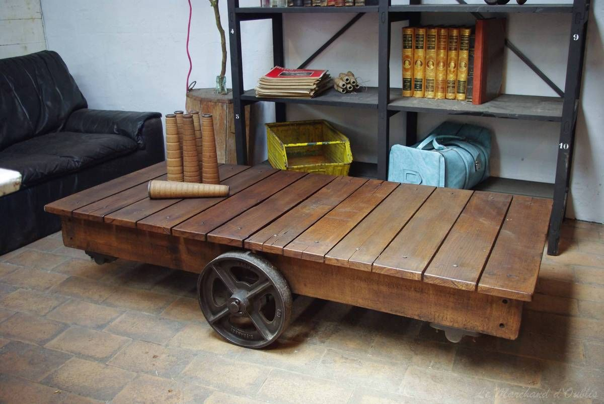 Industrial Coffee Table Old Factory Cart With Stunning Wheels