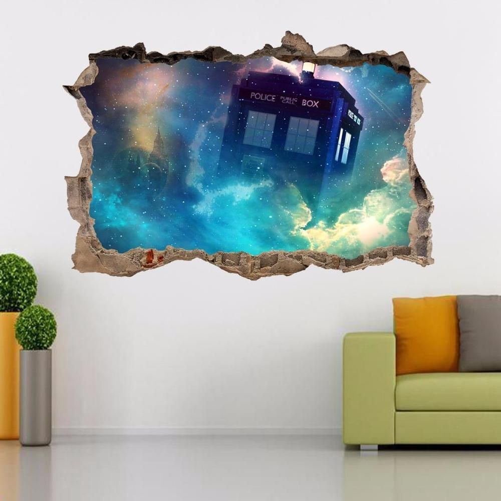 Removable wall art graphic - Tardis Dr Who Smashed Wall Decal Removable Graphic Wall Sticker Art Mural H292