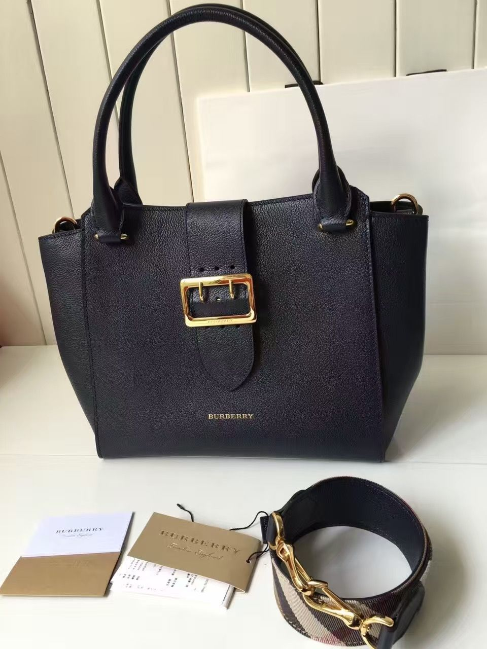 Burberry Medium Buckle Tote In Grainy Leather Deep Blue 2016 ... 1ffa25ea04087