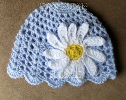 Free Crochet Baby Hat Patterns | PDF crochet pattern Daisy BEANIE ...