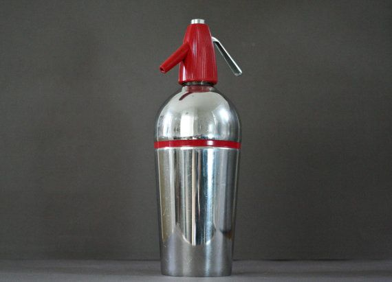 vintage french syphon  red art deco syphon  soda by ObjetsUniques $38