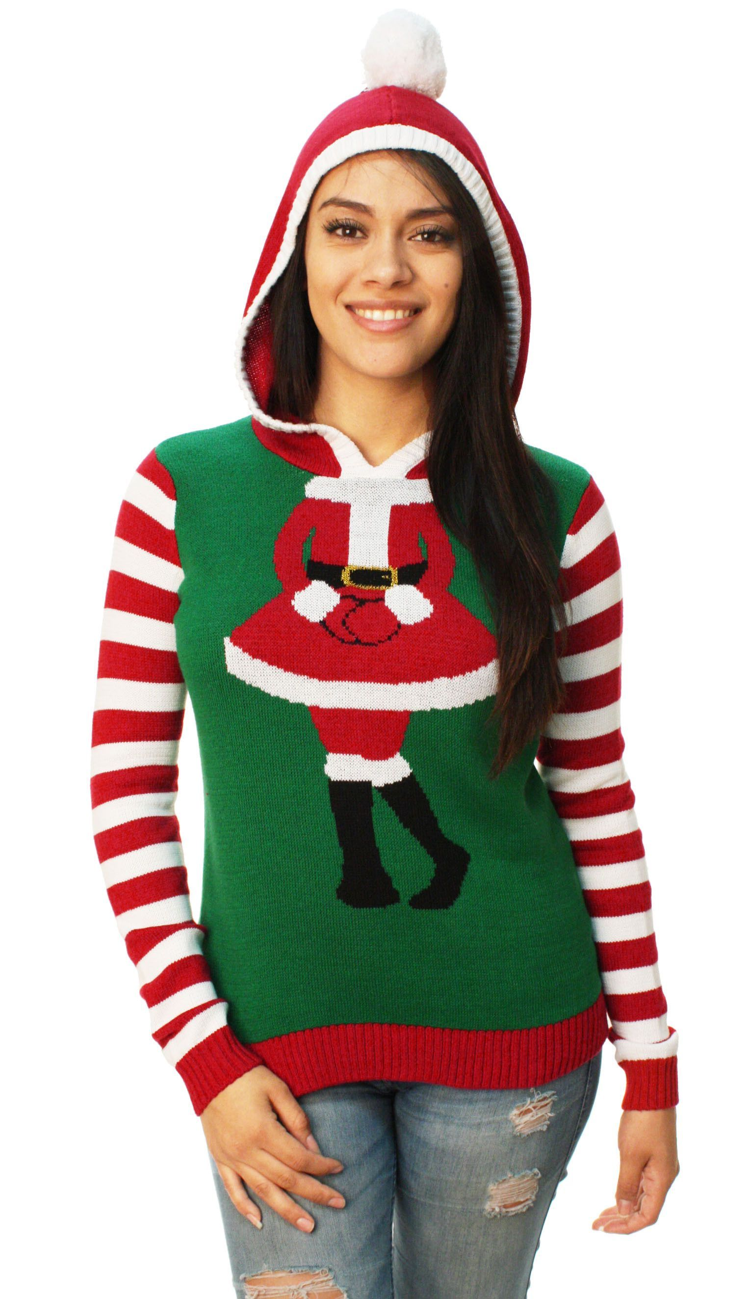 Ugly Christmas Sweater Women S Cute Santa Girl Hooded Sweater