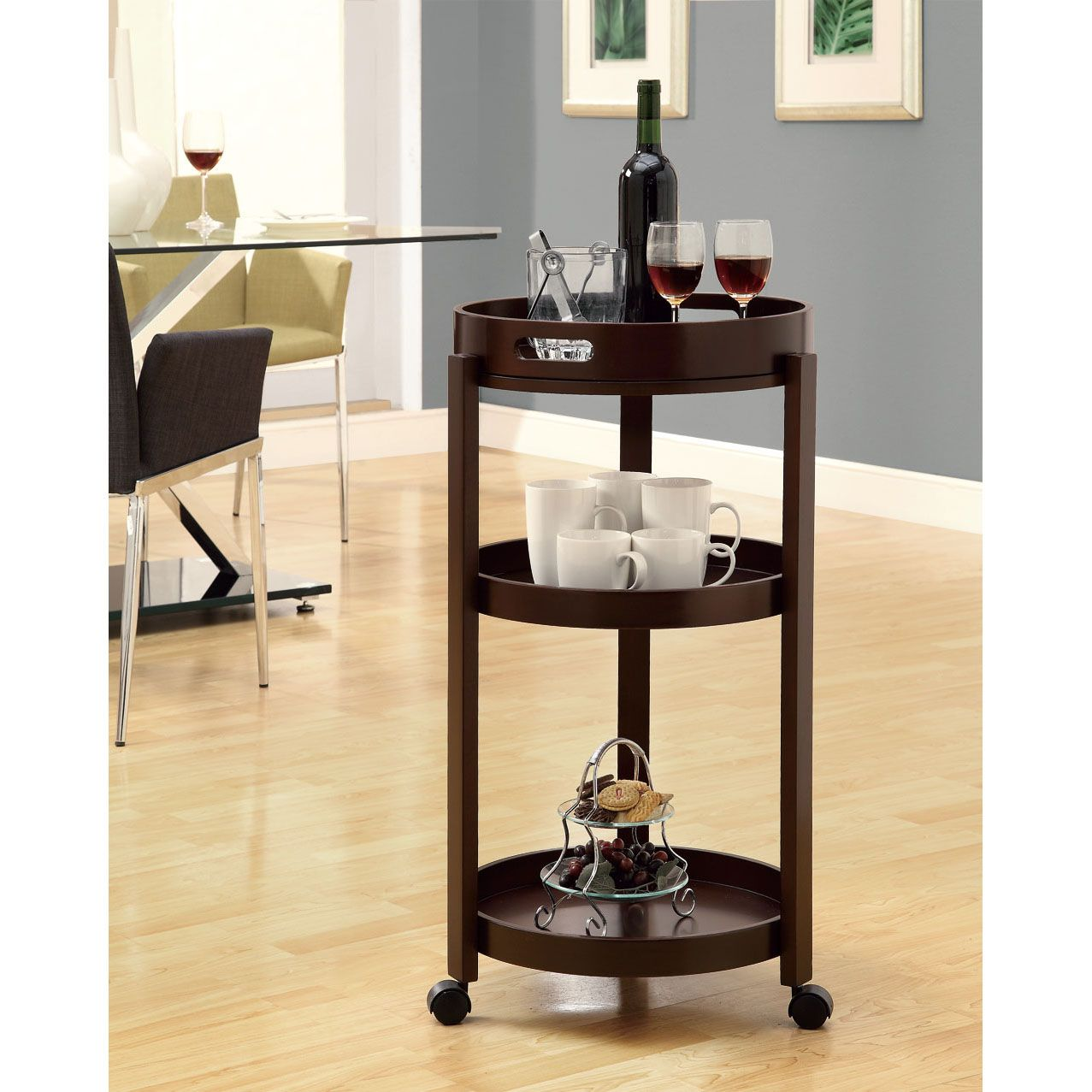 Beautiful Monarch Specialties Bar Cart With A Serving Tray On Castors, Cappuccino