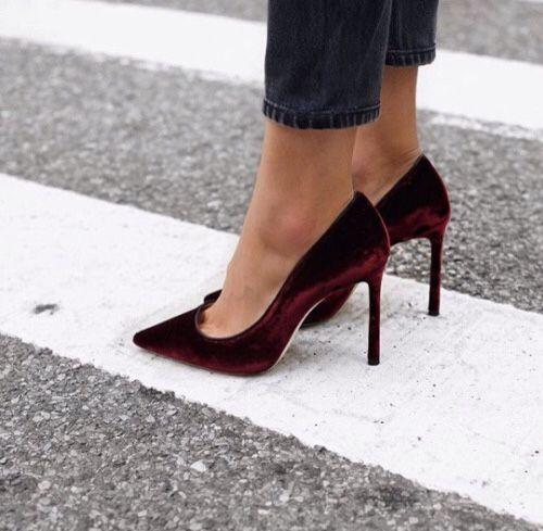 eee9abc1d77a Burgundy velvet heels.