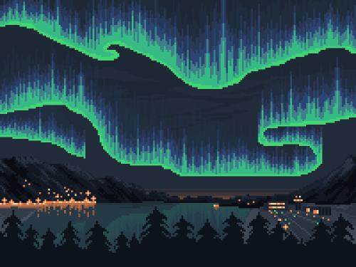Khaled Pixel Art Of The Northern Lights Aurora Borealis Pixel Art Landscape Cool Pixel Art Pixel Art Background