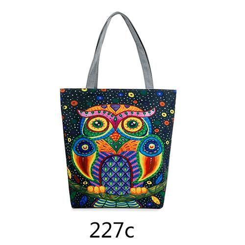 c1cf9f1c48a0 Women Colorful Owl Printed Canvas Tote Handbag
