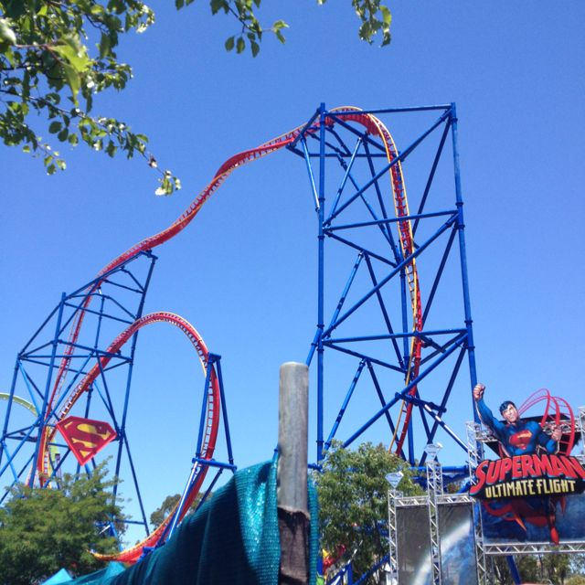 Superman Ultimate Flight Six Flags Discovery Kingdom Vallejo Ca Roller Coaster Thrill Ride Water Park