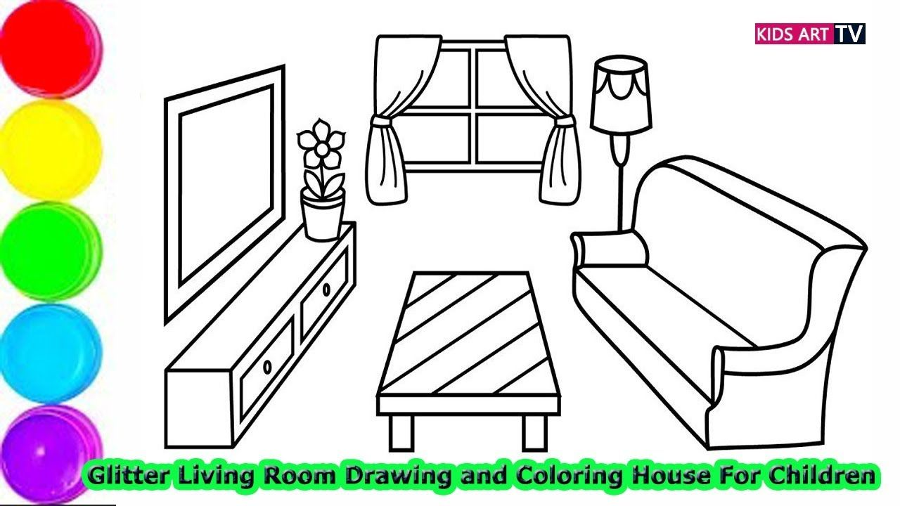 Glitter Living Room Drawing And Coloring House For Children How