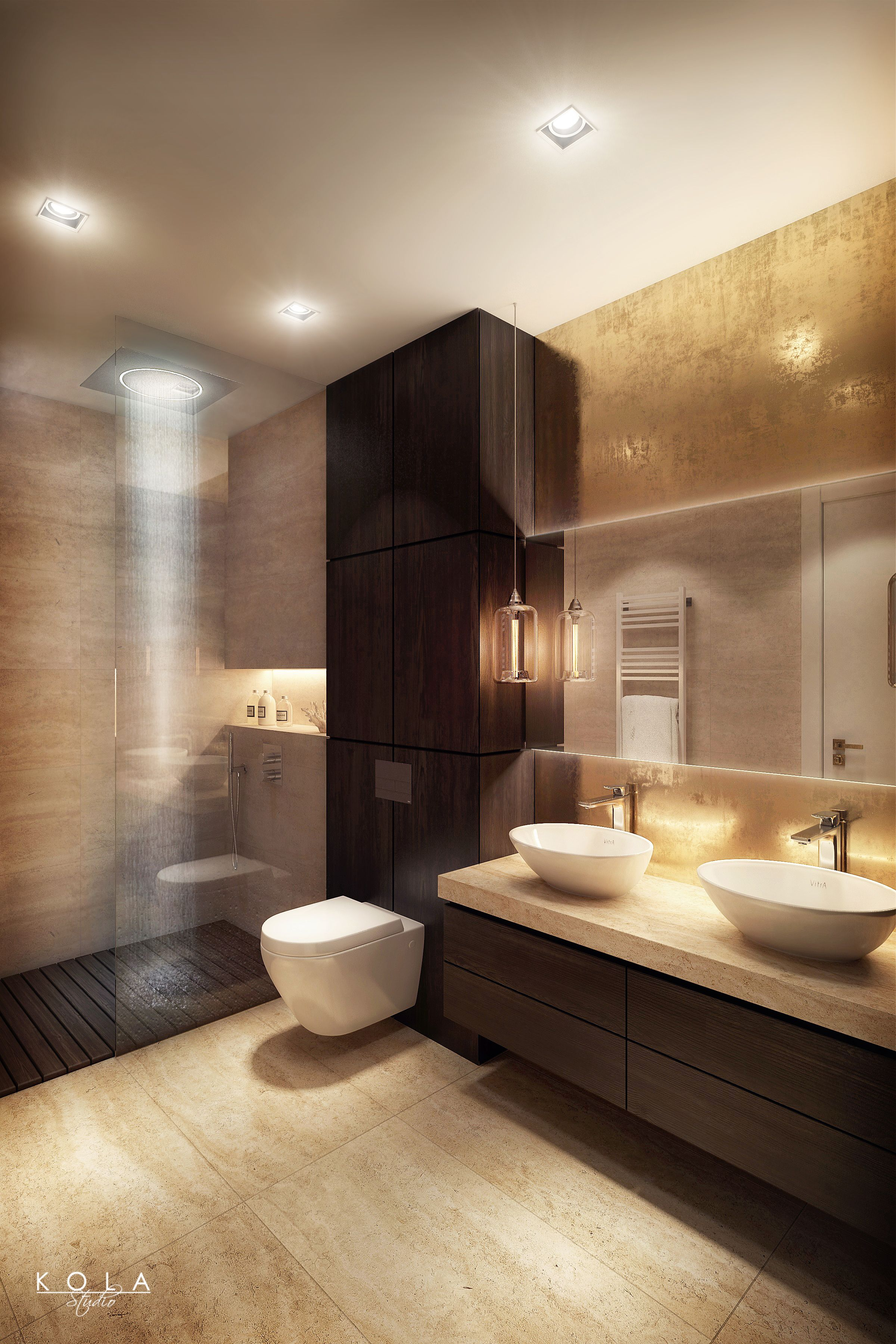 Elegant, modern bathroom in warm colors, with semi open ...