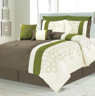 8pc Luxury Lavina Brown Sage White Comforter Set Item With Shams