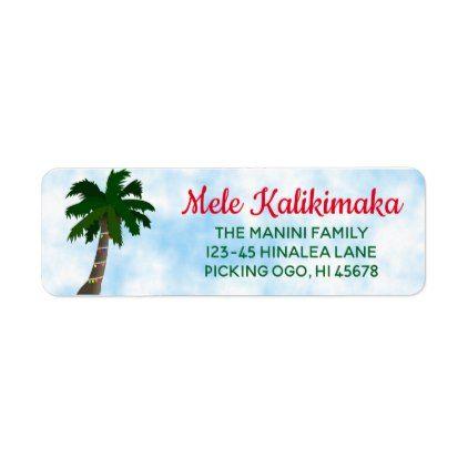 Hawaiian Christmas Return Address Labels Palm Tree - return address