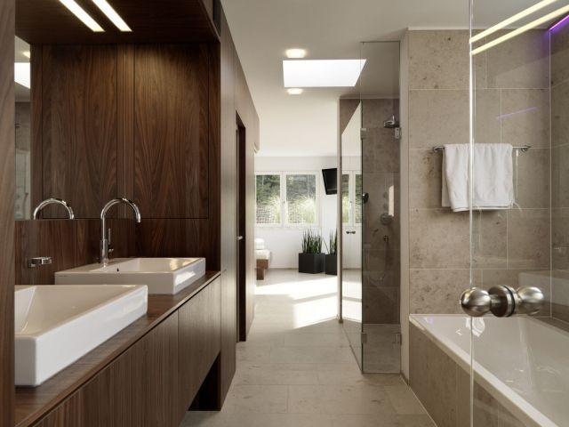 badezimmer-bilder-beige-braun-holz-schrank-rechteckige-aufsatz - badezimmer beige braun