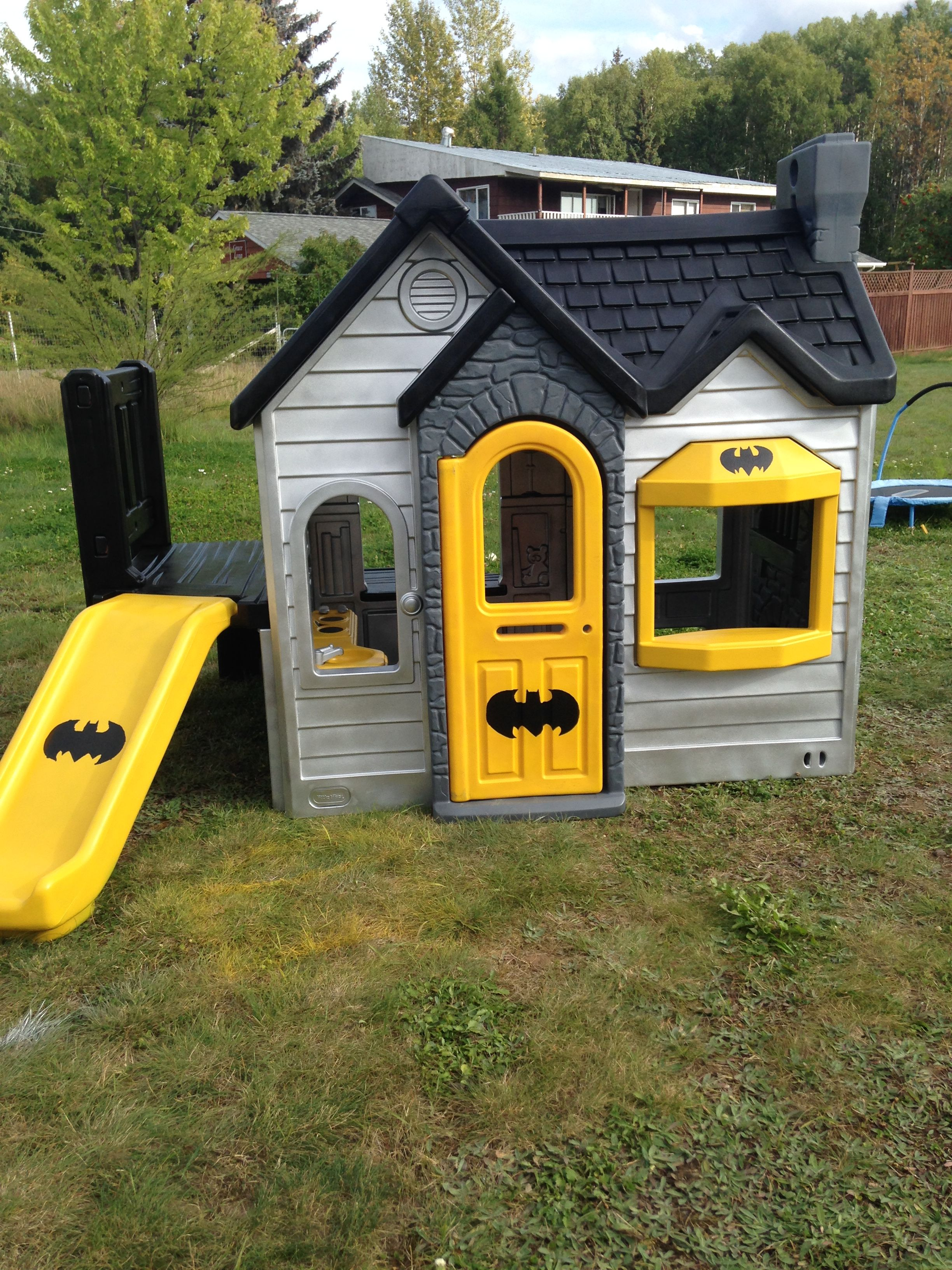 The playhouse redo and remodel for the kids batman for Boys outdoor playhouse
