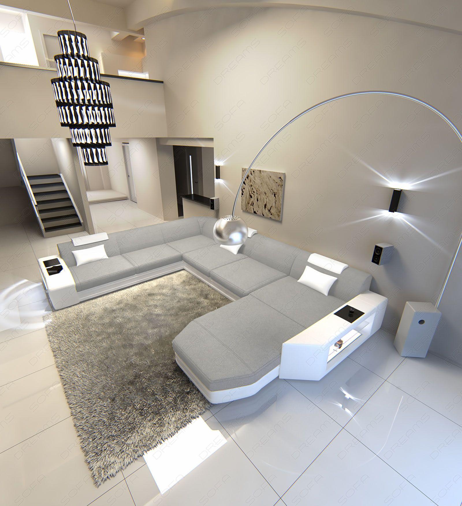 Fabric Sectional Sofa PRATO XXL Design Sofa with LED Lighting RGB ...