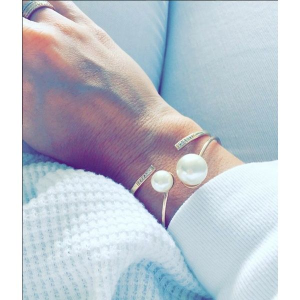 Double Cuff Pearl Cuff, Pearl Bangle. Gold Cuff with Crystals ShopDesignSpark