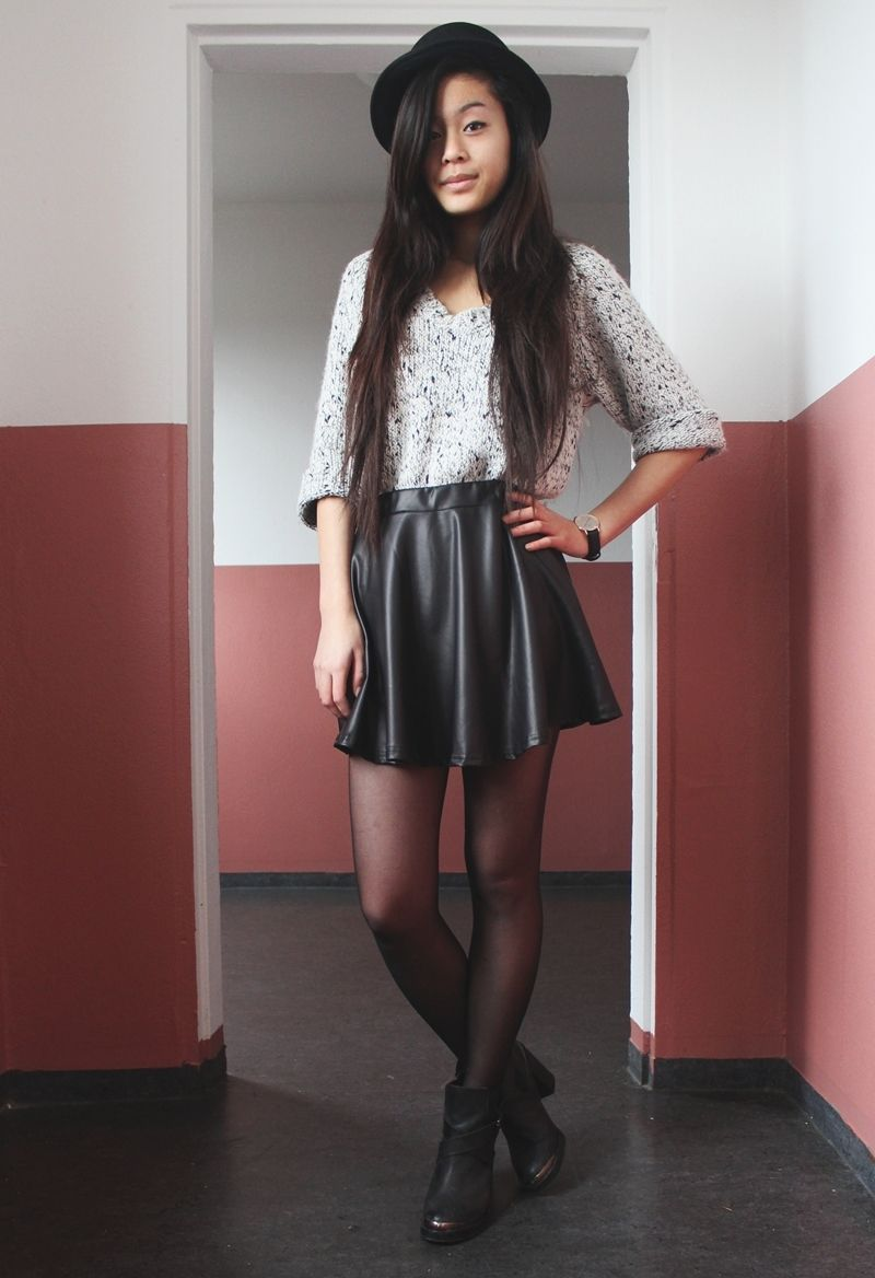 The Leather Skirt A Short A Line Leather Skirt Combined