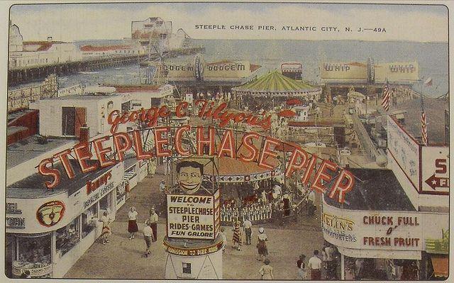 1940s George Tilyou Steeplechase Pier Atlantic City Boardwalk New Jersey Shore Tillie Vintage Postcard Atlantic City Nj Shore City