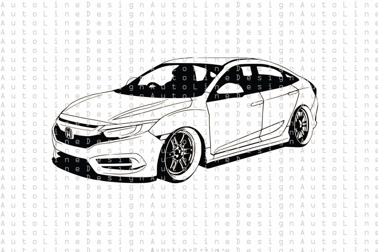 Honda Civic Gen 10 Tuning Low Rider Stance Jdm Svg Pdf Dxf Eps Etsy In 2021 Honda Civic Honda Civic