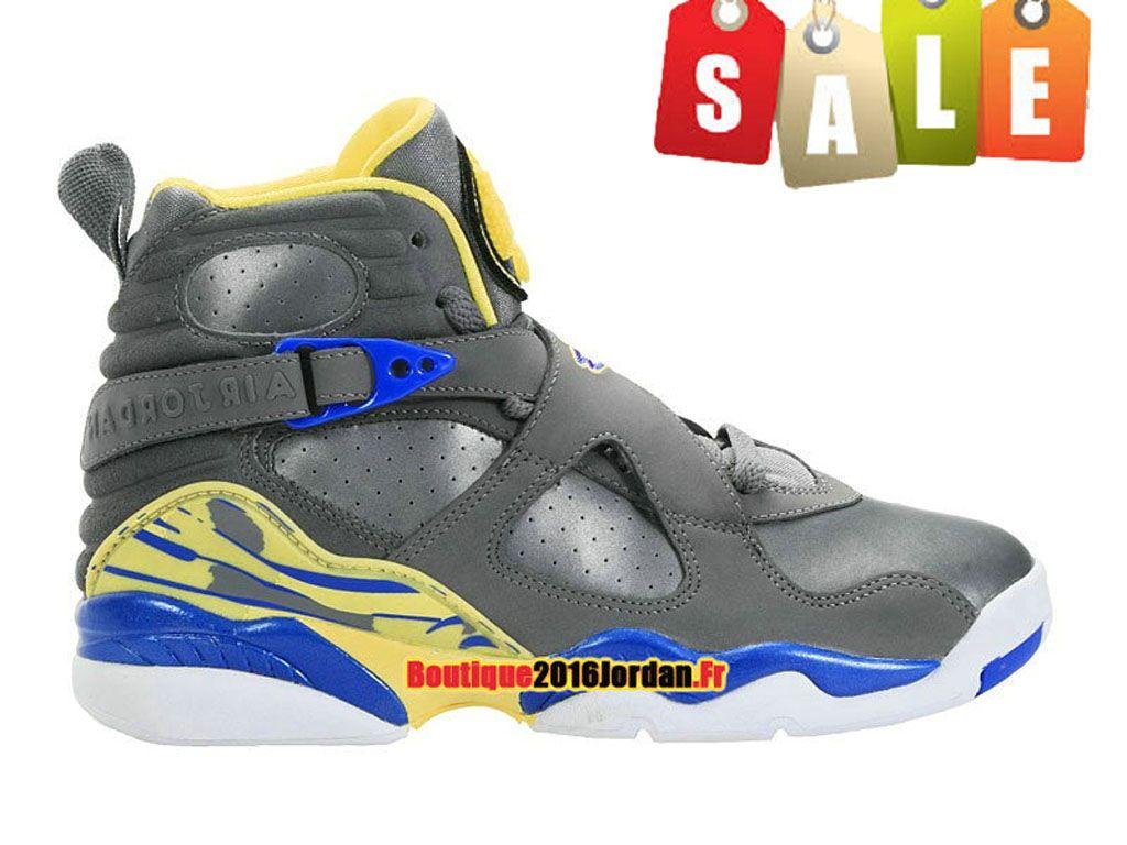 new concept 306bc a4403 Air Jordan 8 VIII Retro 2013 - Baskets Jordan Pas Cher Chaussures Nike Pour  Homme Cool Gris Violet Force Electric Jaune 305381-038