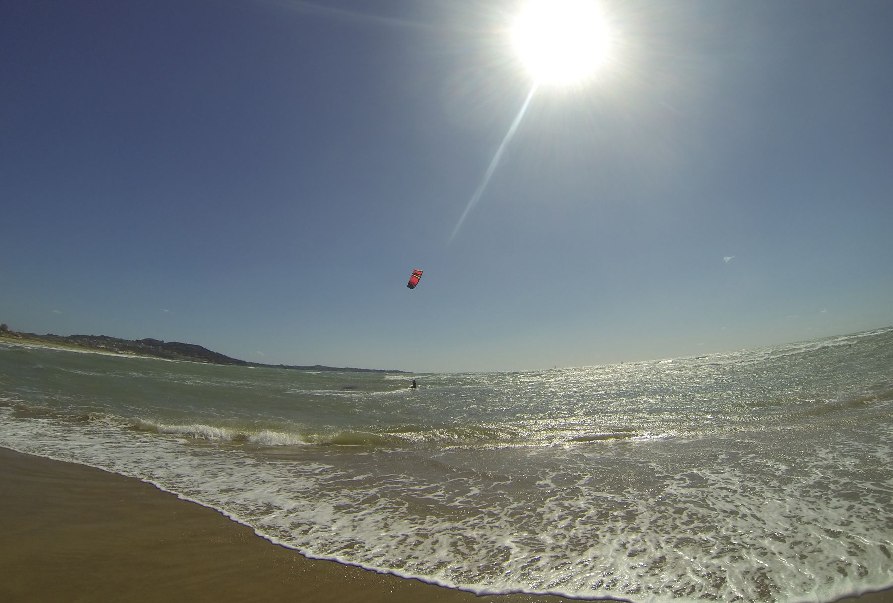 Most popular beach for kite surfing is Agios Ilias, during summer months the wind comes from North-west, West direction and the average is 17 – 24 knots. During the winter months Agios Ilias have strong South-west, West winds over 30 knots  and lot of wave ideal for kite surfing.