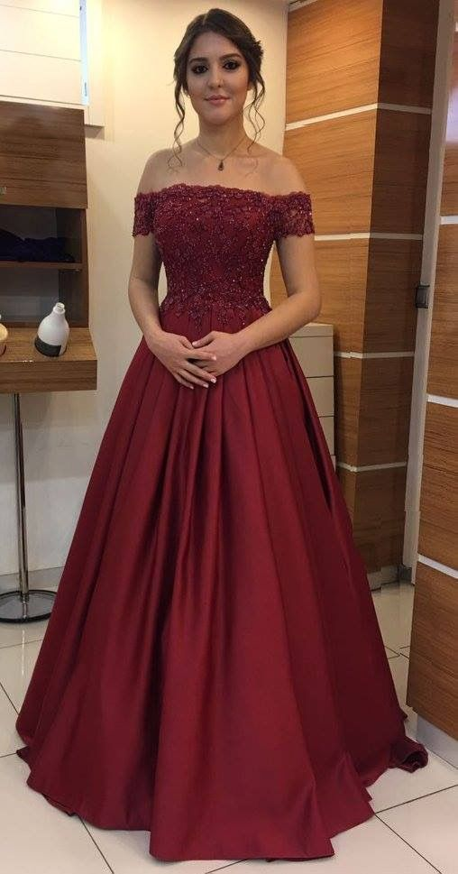 Elegant Off The Shoulder Burgundy Lace Beading Prom Dresses Long Evening Gown For Woman