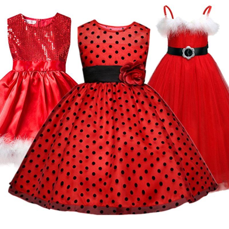 Baby Girl Polka Dots Dress For Girls Flower Wedding Party Dresses Kids Princess Christmas Dress Halloween Wear Children Clothing #babygirlpartydresses