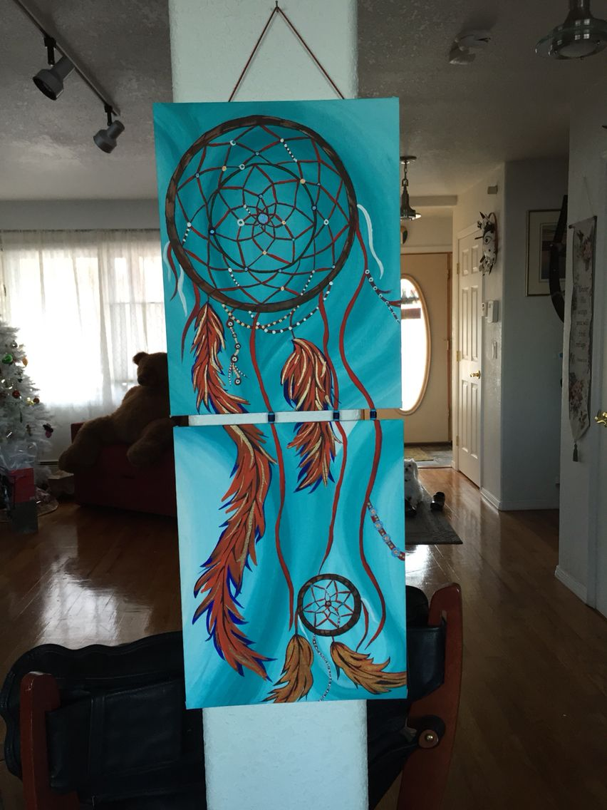 Dream catcher painting with acrylic on canvas my life for Dream catcher spray painting
