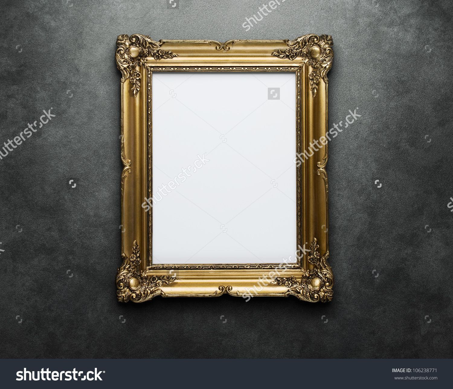 Ornate golden frame at the concrete wall with clipping path for the ...