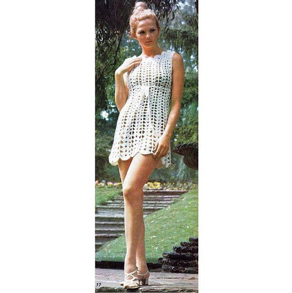 INSTANT DOWNLOAD PDF Vintage Crochet Pattern Lace Goddess Mini Dress ...
