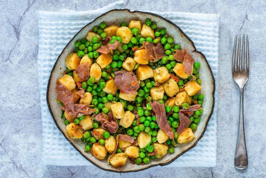 Potato Gnocchi Green Peas Pesto Proscuitto Chorizo Bowl Overhead View  S