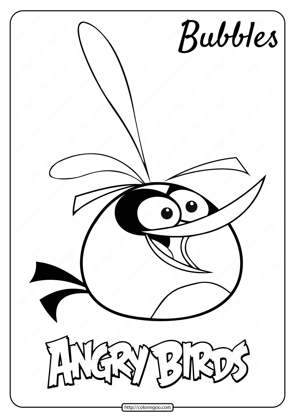 Printable Angry Birds Bubbles Pdf Coloring Page Coloring Pages Angry Birds Coloring Books
