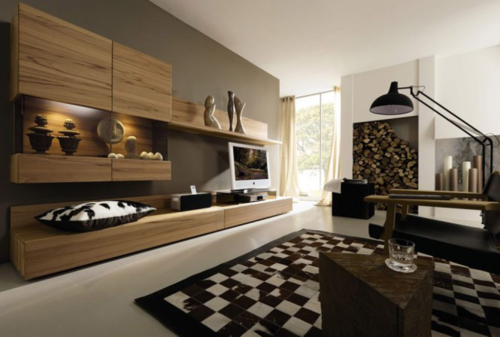 Minimalistisches Wohnzimmer Braun