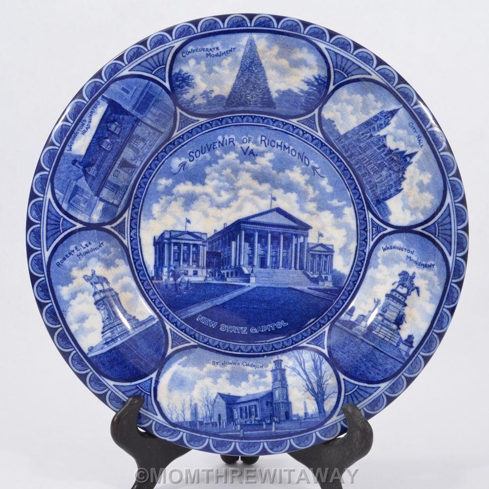 Antique STAFFORDSHIRE Blue White CIVIL WAR Monuments Souvenir ...