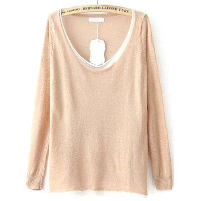 29,90EUR Pullover Strickpullover beige mit weitem Ausschnitt