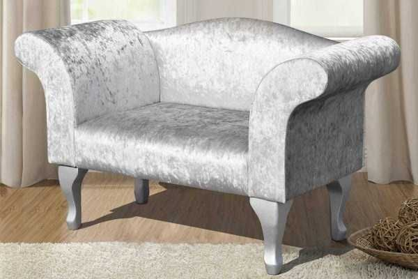 Silver Crushed Velvet Bedroom Chaise Longue Bedroom Chair Velvet