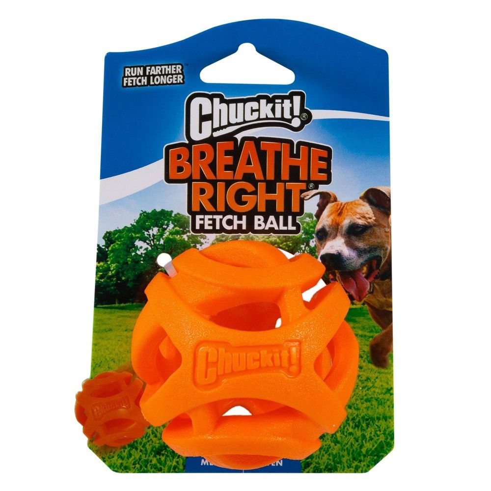 Chuckit Breathe Right Fetch Ball Dog Toy Orange M In 2020