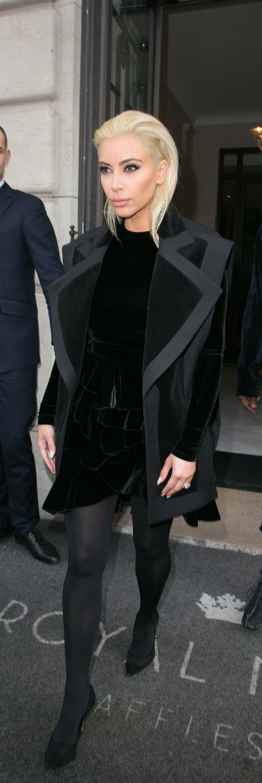 Kim Kardashian showed off her new look at the Balmain show at PFW.