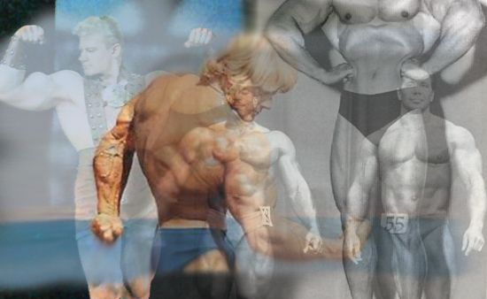 A collage of bodybuilders from the past