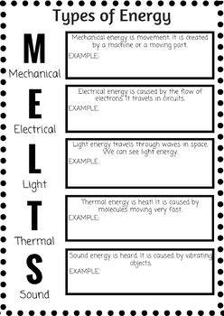 Types of Energy Note Worksheet | Teaching, Notes, Type