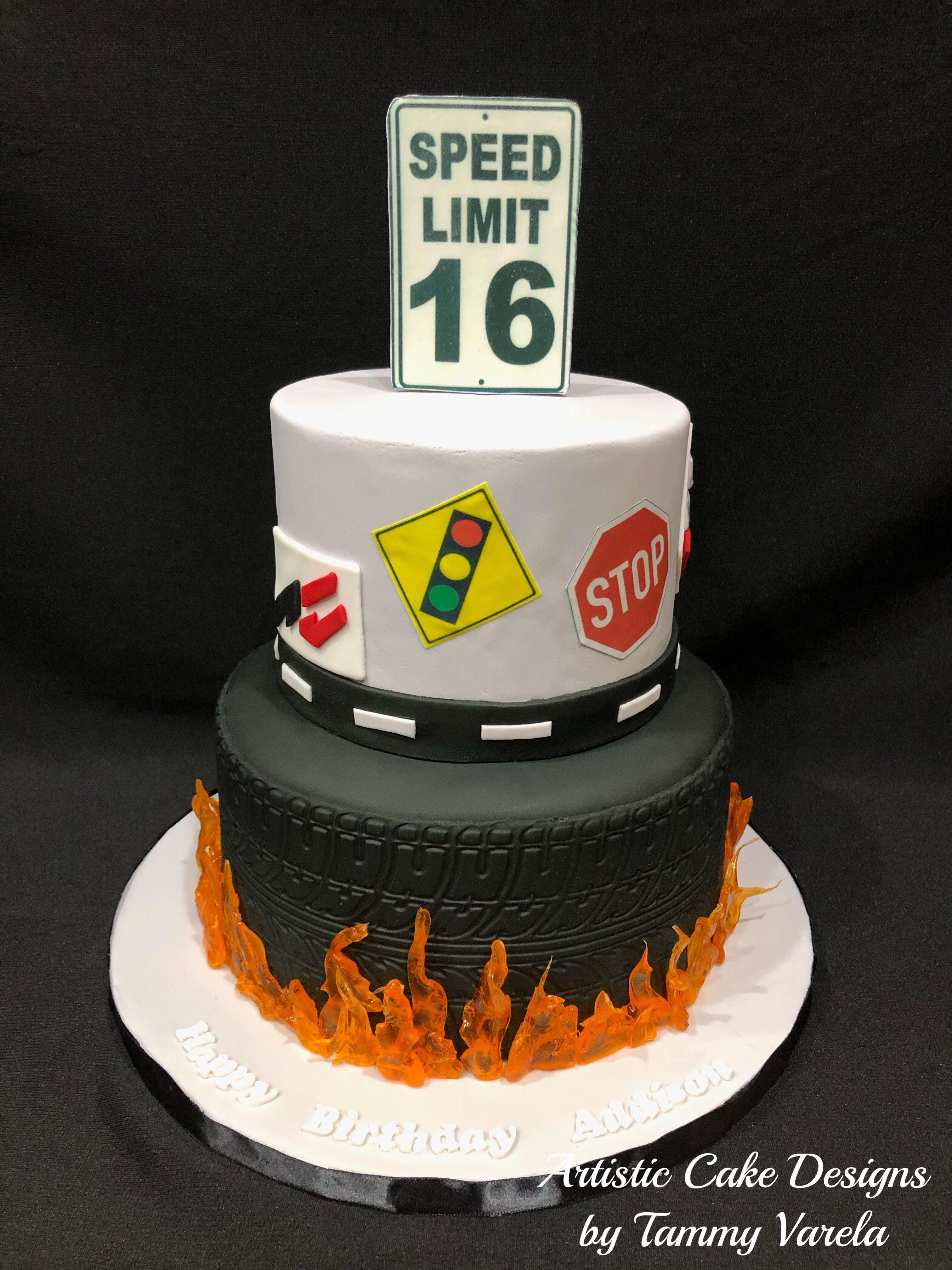 16 Yr Old Birthday Cake For Boy Tire And Sugar Flames Street