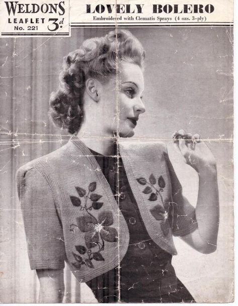 Free Vintage Knitting Pattern From 1940s Weldons Lovely Bolero