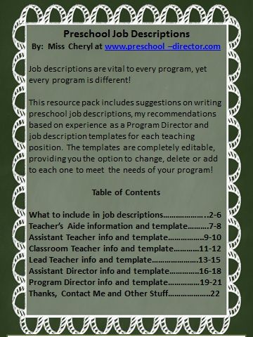 Preschool Job Description Resource Packet with editable templates - director of nursing job description